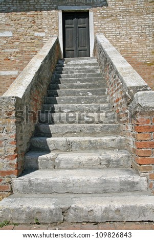 stone staircase of the Church on the island of Torcello near Venice