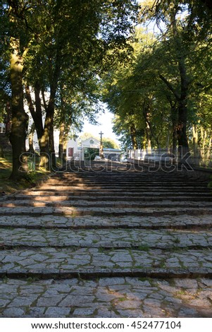 Stone stairs leading to the Basilica of St. Anne on Mount St. Anna in Poland - stock photo