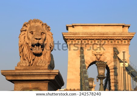Stone statue of a lion guarding the access to the Chain bridge, Budapest, Hungary - stock photo