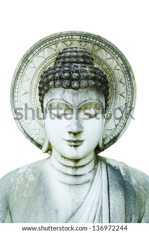 Stone Statue of Buddha on white background