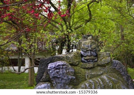 Stone Statue of Zhang Fei in the Peach Orchard, Wuhou Memorial, Three Kingdoms, Temple, Chengdu, Sichuan, China  This temple was created in the 1700s.