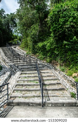Stone steps leading up hill through woods. - stock photo