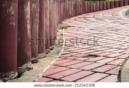 stone street walk from red bricks - stock photo