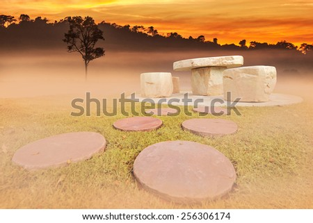 Stone table in a garden at summer - stock photo