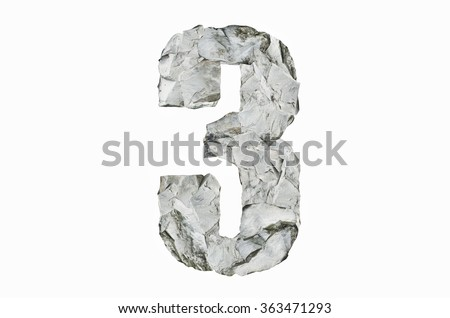 Stone texture in the shape of number 3, isolated on white background