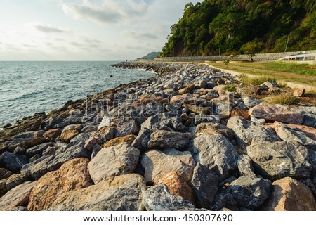Stone the road along the most beautiful beaches in Chanthaburi Thailand