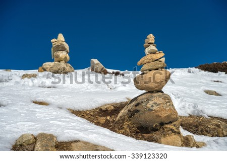 Stone tower in the Everest region - stock photo