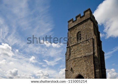 Stone tower of Glastonbury Tor in Somerset on a beautiful day