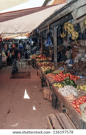 STONE TOWN, ZANZIBAR - APRIL 21: Fruit and vegetables market, April 21, 2006, in Stone Town, Zanzibar, Tanzania - stock photo