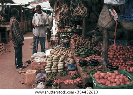 STONE TOWN, ZANZIBAR - APRIL 21: Fruit and vegetables market, April 21, 2006, in Stone Town, Zanzibar, Tanzania - stock photo