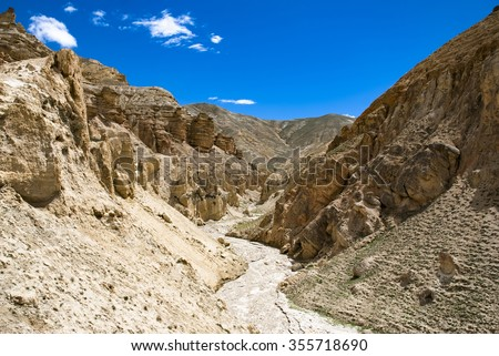 Stone valley in the Upper Mustang, Nepal - stock photo