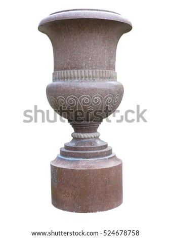 Stone vase in the old classical style with isolated over white background