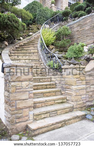 exterior brick stairs stone stairs stock images royalty free images vectors