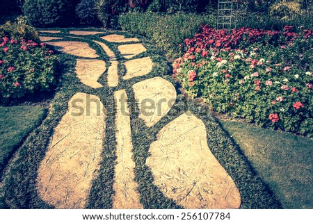stone walkway in garden - vintage style - stock photo