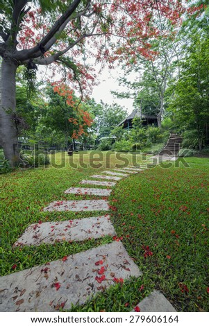 Stone walkway in the park. - stock photo