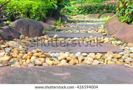Stone walkway in the rock garden