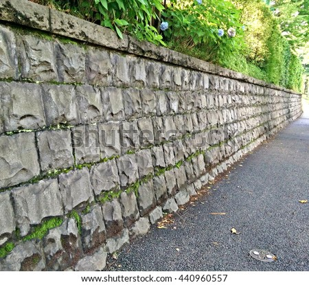 Stone wall around the Palace in Tokyo Japan