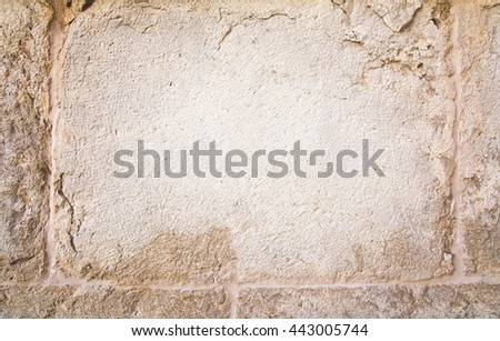 Stone wall background pattern copy space in Mallorca, Balearic islands, Spain. - stock photo