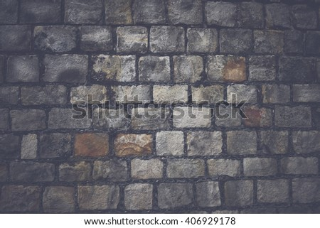 Stone Wall Background with Vintage Style Filter