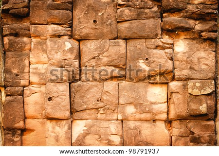 Stone wall in Ancient City, Phimai temple Thailand