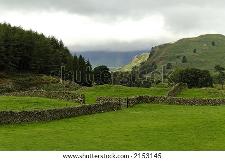 Stone wall in Lake District NP,  Scotland