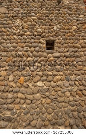 Stone wall in Ricetto of Candelo, Biella, Italy - stock photo