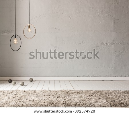 stone wall lamp modern interior decoration empty room - stock photo