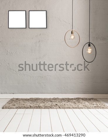 stone wall lamp modern interior decoration empty room and frame