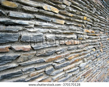 Stone Wall Landscaping Detail Patterns - stock photo