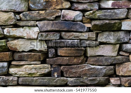 Stone wall pattern from old log cabin chimney.