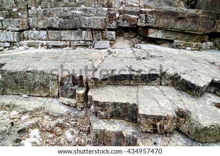 Stone wall texture,Layers of stone in Koh Lan,Pataya,Thailand