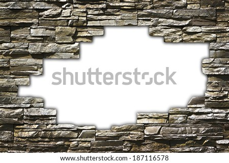 stone wall with a large hole in the middle of a grunge style - stock photo
