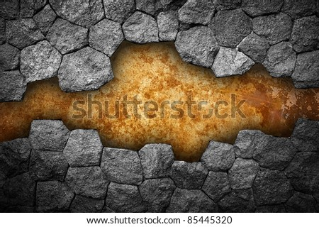 stone wall with hole - stock photo