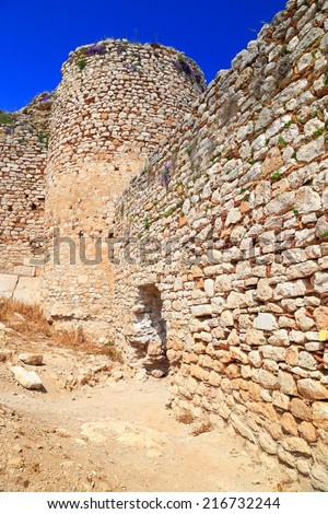 Stone walls of Kastro Larissa, Venetian fortress built on top of the Greek hill, Argos, Greece - stock photo