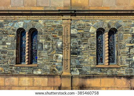 Stone walls with windows