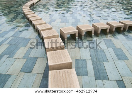 stone water walkway steps