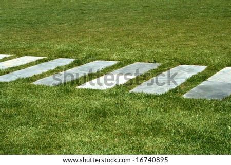 stone way in grass