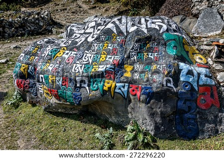 Stone with the Buddhist mantras, lying on a track between Namche Bazar and a monastery in Thame - Everest region, Nepal, Himalayas - stock photo
