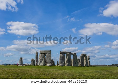 Stonehenge an ancient prehistoric stone monument near Salisbury, UK. in England. It is under protection of UNESCO. in the place called Wiltshire in South West England