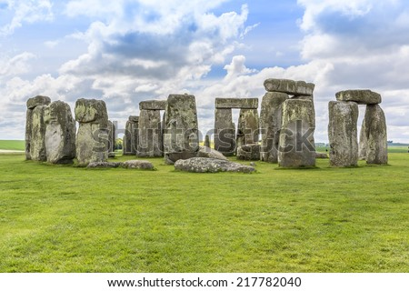 Stonehenge - an ancient prehistoric stone monument near Salisbury, Wiltshire, UK. It was built anywhere from 3000 BC to 2000 BC. Stonehenge is a UNESCO World Heritage Site in England. - stock photo