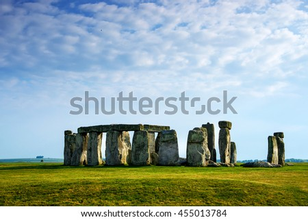 Stonehenge in Wiltshire in the Great Britain in cloudy weather. It is a prehistoric monument, in Wiltshire in South West England. It is under protection of UNESCO. - stock photo