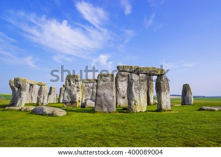 Stonehenge in Wiltshire of England in cloudy weather. It is a prehistoric monument 8 miles north from Salisbury, in the place called Wiltshire in South West England. It is under protection of UNESCO. - stock photo