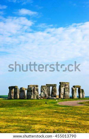 Stonehenge in Wiltshire of the Great Britain in cloudy weather. It is a prehistoric monument, in Wiltshire in South West England. It is under protection of UNESCO. - stock photo