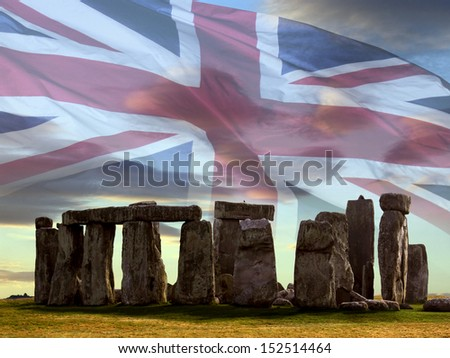 Stonehenge on Salsbury Plain in Wiltshire in southwest England. Built about 3000BC Stonehenge is Europe's most famous prehistoric monument. - stock photo