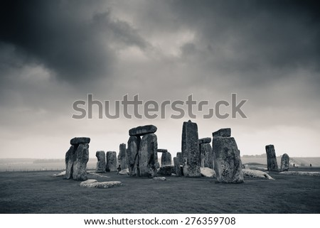 Stonehenge with cloud near London as the National Heritage site of UK. - stock photo