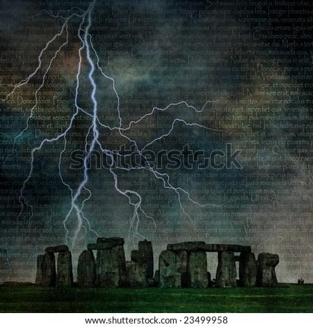 Stonehenge with Lighting and Latin Text - stock photo