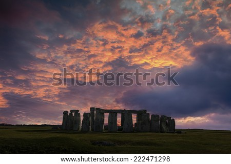 Stonehenge with winter solstice sunset (simulated), no people - stock photo