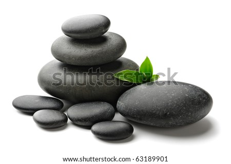 stones and bamboo on the white background - stock photo