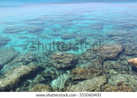 Stones at the bottom of the Mediterranean Sea, the Fig Tree Beach, Protaras, Cyprus