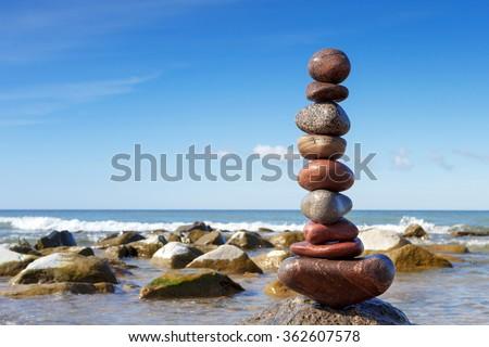 Stones balance on the sea - stock photo